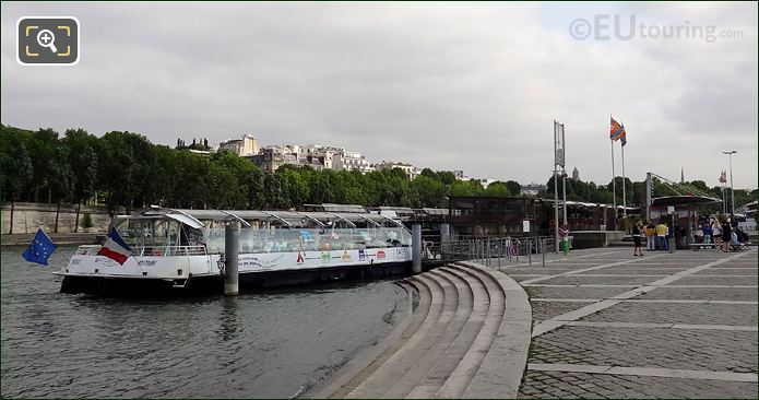 Batobus Boat Docked At The Eiffel Tower