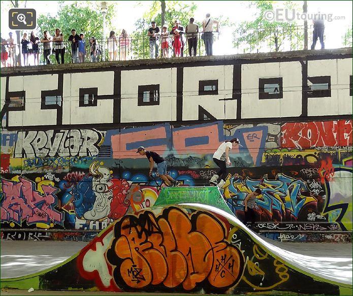 Skaters In Park Parc De Bercy Skate Park