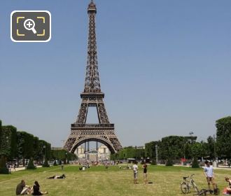 Champ De Mars Central Grass Area With The Eiffel Tower