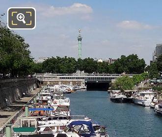 Canal Saint-Martin And Colonne De Juillet