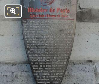 Official Tourist Information Board For Eglise Saint-Etienne-du-Mont