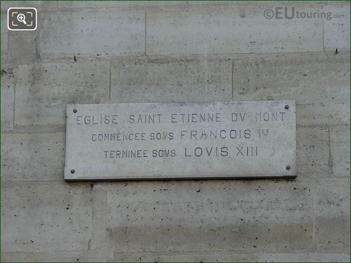 Francois I And Louis XIII Stone Plaque On Eglise Saint-Etienne-du-Mont Facade