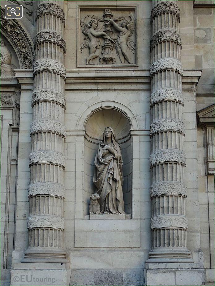 Patron Saint Of Paris Statue On Eglise Saint-Etienne-du-Mont