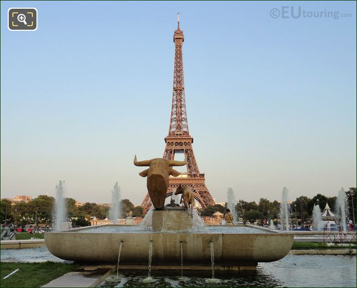 Eiffel Tower With Bull And Deer Statues