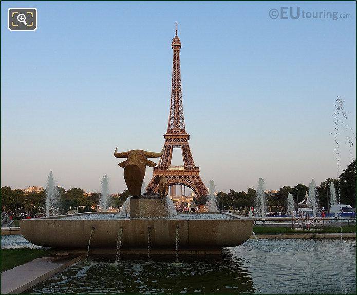 Eiffel Tower With Bull And Deer Statue