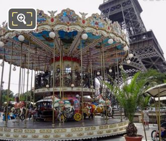 Childrens Carrousel And Eiffel Tower