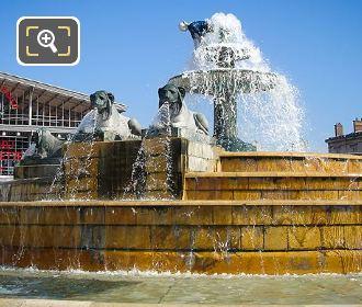 Lion Sculptures On Fontaine Aux Lions De Nubie