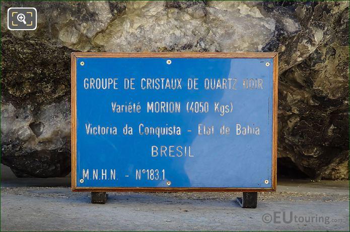Plaque For The Black Quartz Crystals