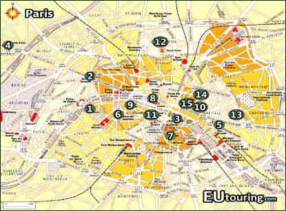 Tourist Information Map Of Paris