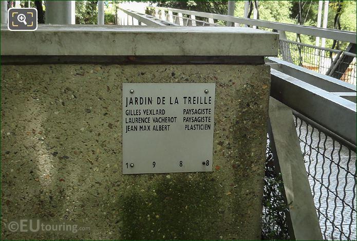 Jardin De La Treille Plaque