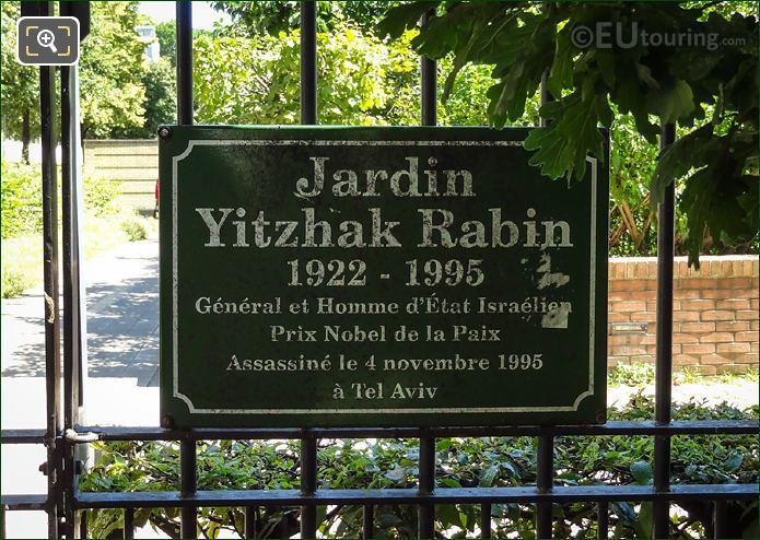 Jardin Yitzhak Rabin Plaque