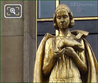 Les Oiseaux Golden Statue Inside Jardins Du Trocadero