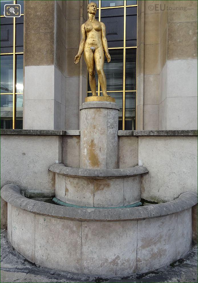 Le Printemps Golden Statue Inside Jardins Du Trocadero