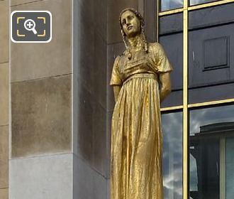 Les Fruits Golden Statue Inside Jardins Du Trocadero
