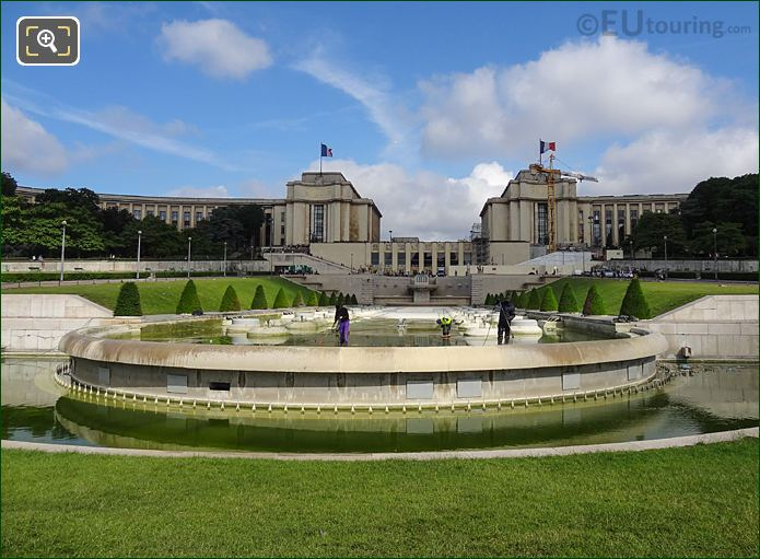 Jardins Du Trocadero Large Central Water Basin Being Cleaned