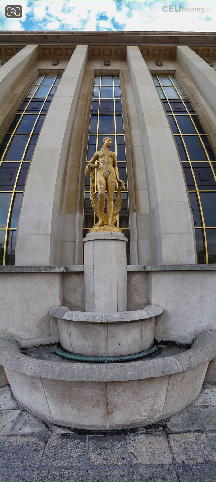 Panoramic Of Golden Statue On Palais De Chaillot