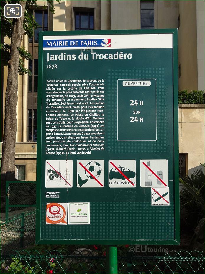 Tourist Information Board On North West Side Of Jardins du Trocadero