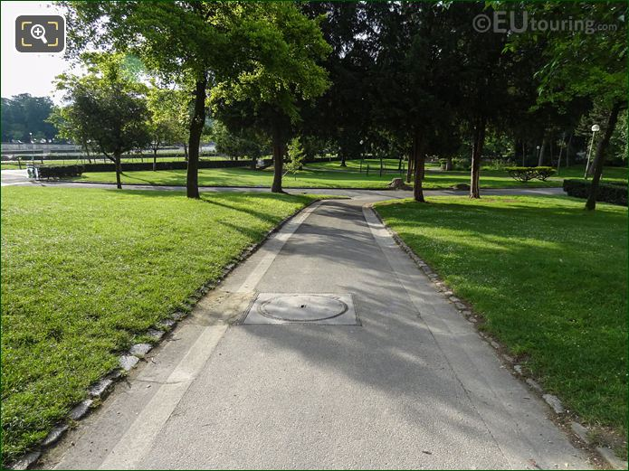 Pathway, Trees And Grass Area Within Jardins Du Trocadero Looking South East