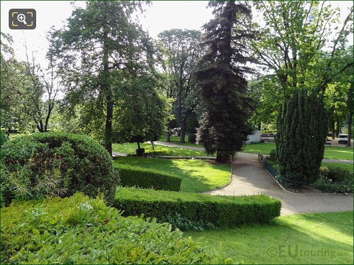 Evergreen Trees, Hedges And Pathways In Jardins Du Trocadero Looking South