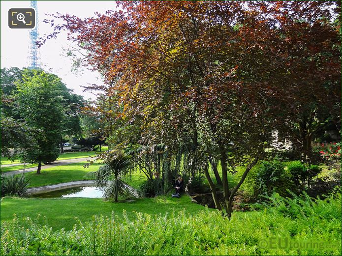 Evergreen Bushes And Two Ponds In Jardins Du Trocadero Looking South East