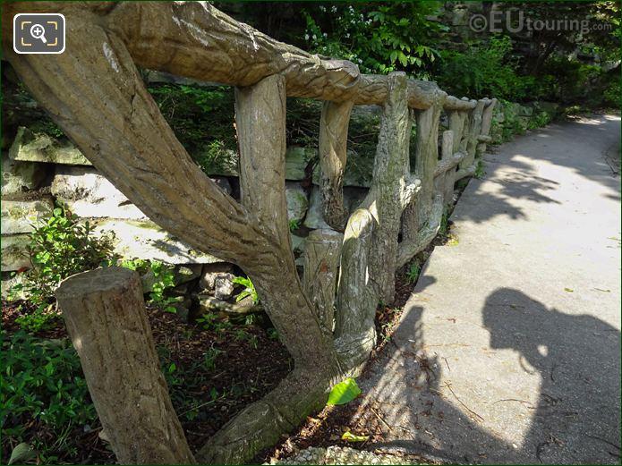 Tree Trunk Bridge Railings Within Jardins Du Trocadero Looking West
