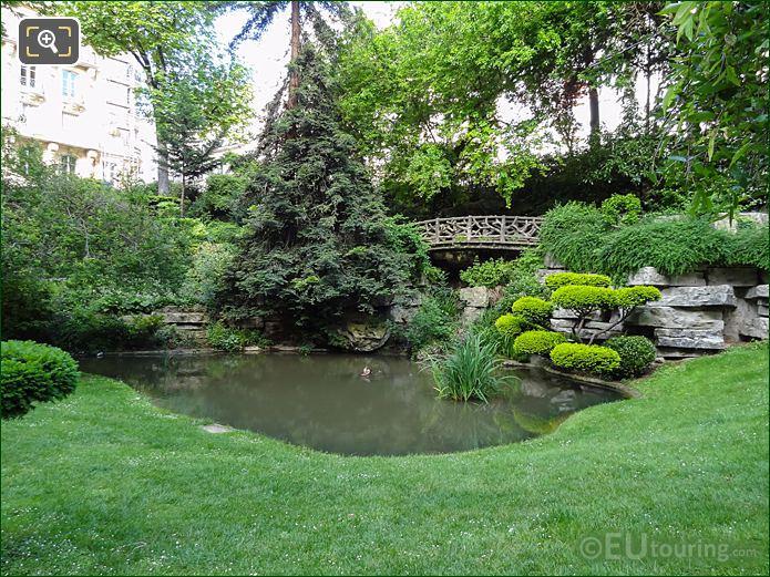Trocadero Garden Pond And Bridge In Western Corner