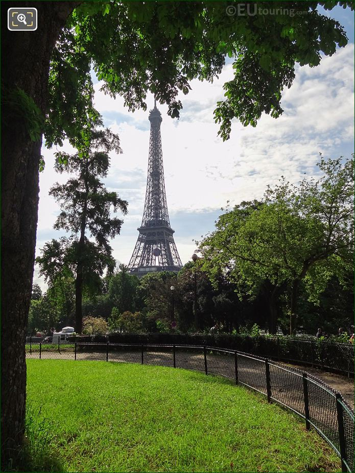 Eiffel Tower Viewed From SW Corner Of Jardins Du Trocadero Looking South East