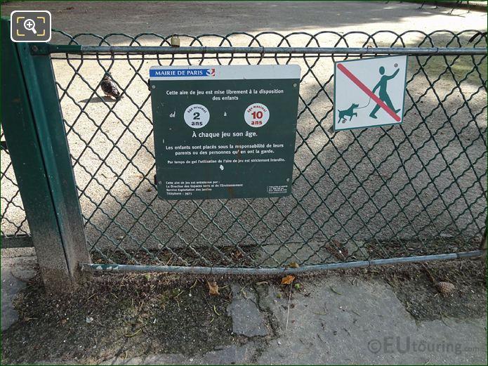 Mairie De Paris Information Board For Childrens Playground