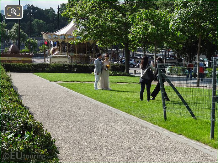Couple Having Wedding Photos Taken In Jardins Du Trocadero Looking South East