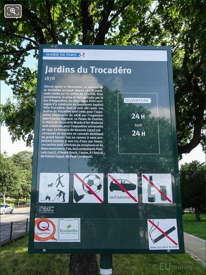Tourist Information Board For Jardins Du Trocadero