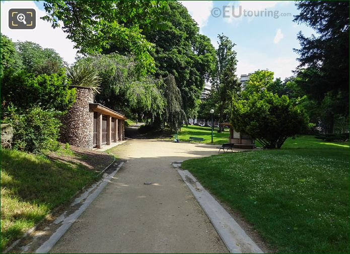 Pathway And Park Benches In Jardins Du Trocadero Looking North East