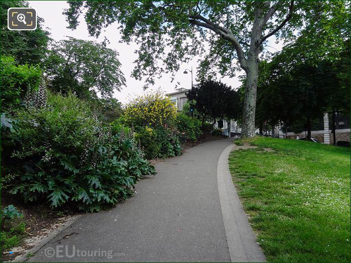SE Corner Winding Pathway In Jardins Du Trocadero Looking North