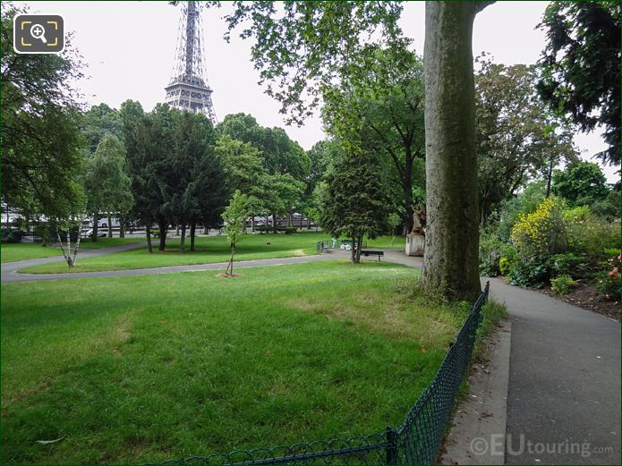 Grass Area With Trees Within Jardins Du Trocadero Looking South