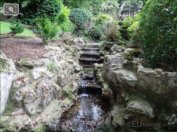 Cascading Water Fall And Stream In Jardins Du Trocadero Looking North