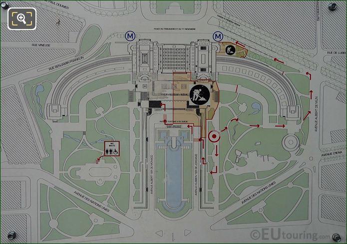 Tourist Information Map Of Trocadero Gardens