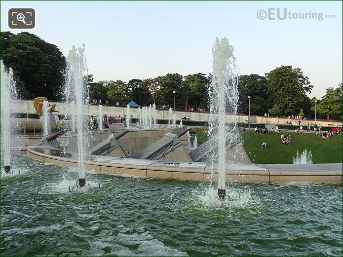 Side View Of The Twenty Water Cannons In Jardins Du Trocadero