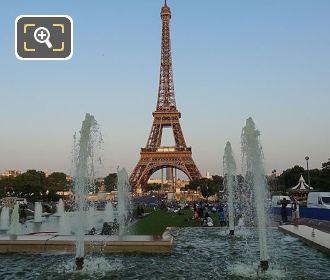 Jardins du Trocadero Water Fountains At Dusk