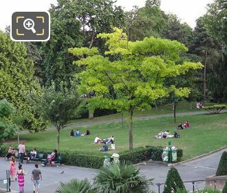 Tourists Within Jardins Du Trocadero Open Grass Area
