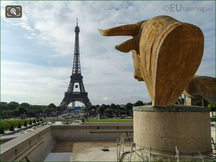 Bull And Deer Statues Inside Jardins Du Trocadero Looking South East