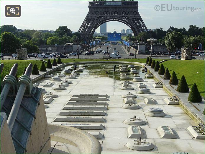 View Over Empty Central Water Basin Inside Jardins Du Trocadero