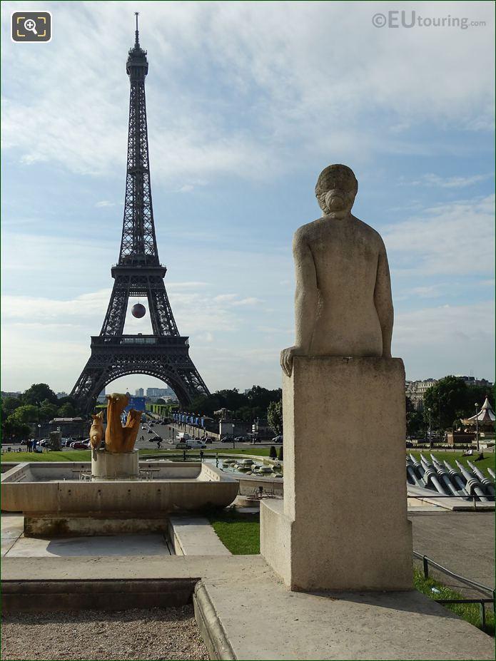 La Femme Statue And Eiffel Tower Viewed From Jardins Du Trocadero Looking South East