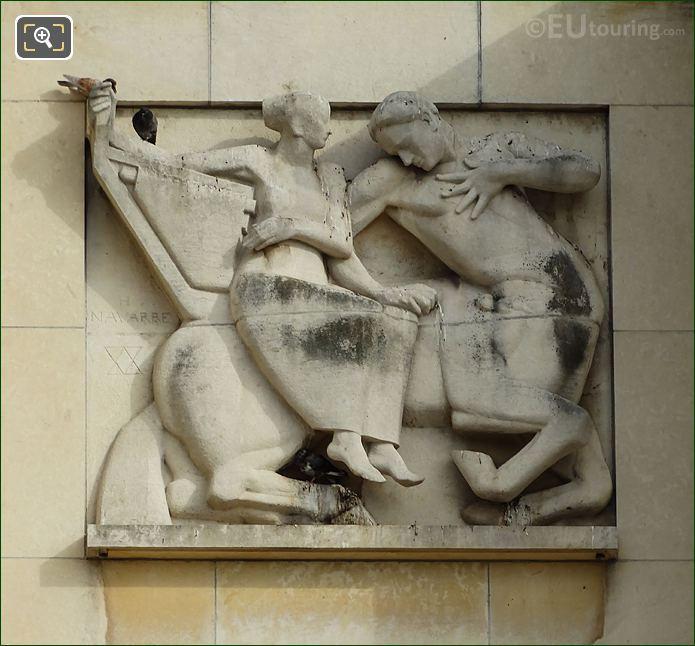 Third Sculpture On Lower South East Facade Inside Jardins Du Trocadero