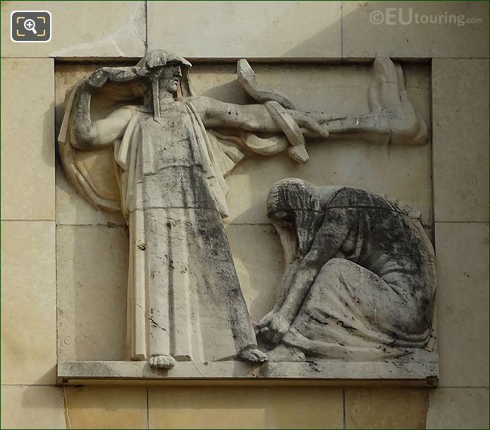 Sixth Sculpture On Lower South East Facade Inside Jardins Du Trocadero