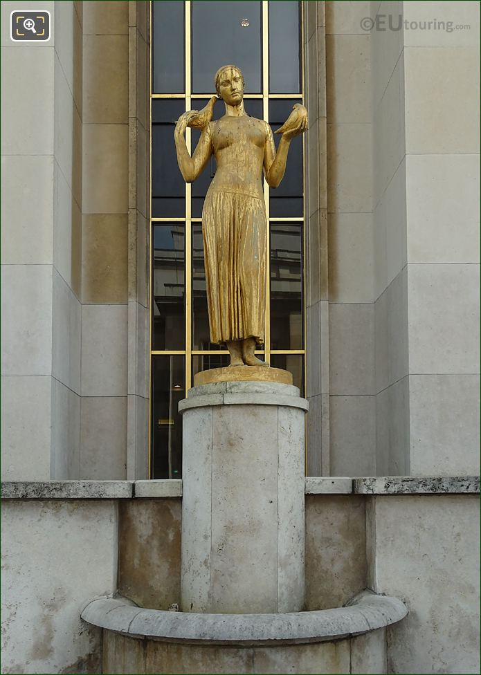 La Jeunesse Golden Statue On South West Facade Inside Jardins Du Trocadero