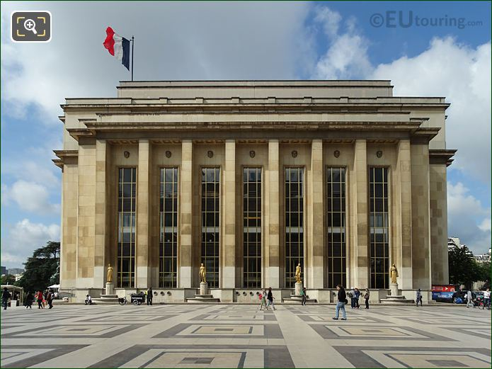 Palais De Chaillot North East Facade With Its Golden Statues