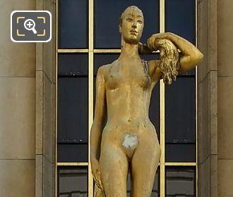 Le Matin Golden Statue On South West Facade Inside Jardins Du Trocadero