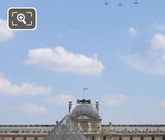 French Air Force Fly Over The Louvre Museum