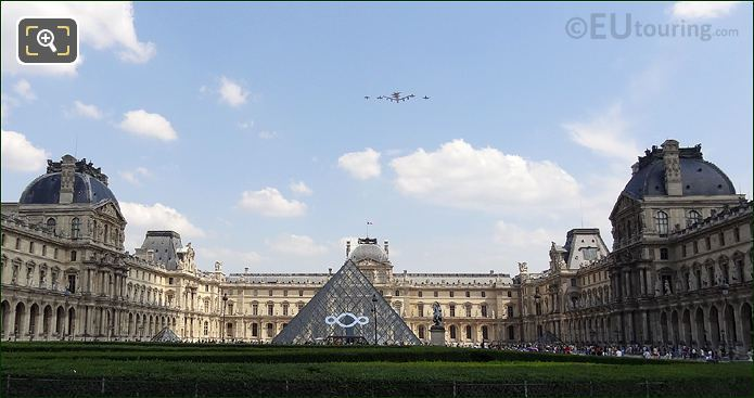 Army Aircraft Flyby Over Louvre Museum