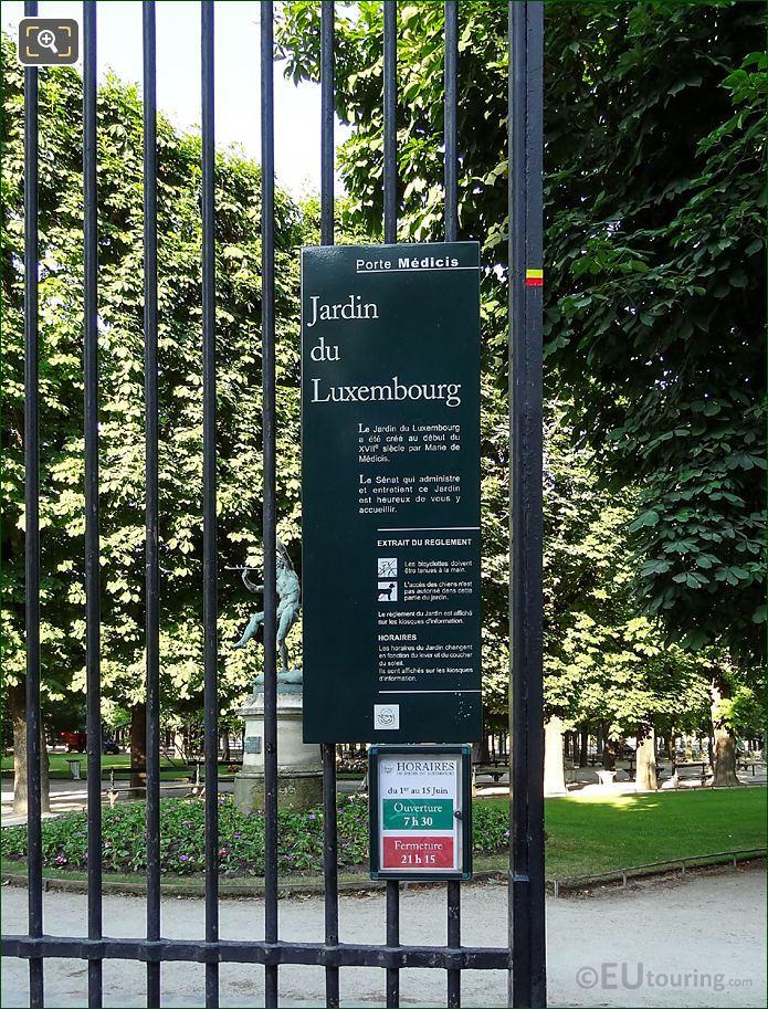 Jardin Du Luxembourg Tourist Information Board Place Edmond Rostand