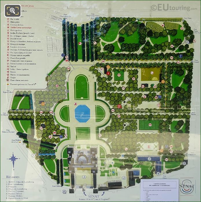Tourist Information Map Of Luxembourg Gardens